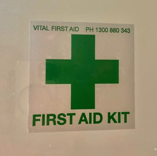 Inside window first aid sticker