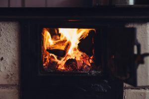 open fire in winter